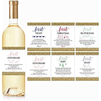 image relating to Printable Wine Tags for Bridal Shower Gift named  Romance Milestones Wine Bottle Labels, Preset of