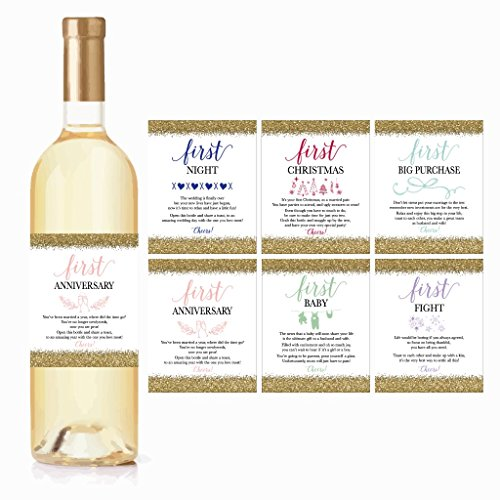 6 Wedding Milestones Gift Wine Bottle Labels or Sticker Covers, Bridal Shower, Bachelorette Engagement Party Present, Perfect Best Registry For Bride To Be, Firsts For The Newlywed Couple Basket -