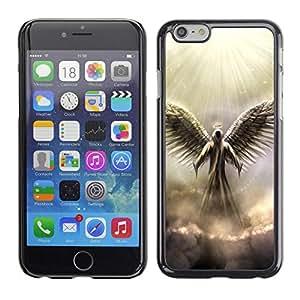 Caucho caso de Shell duro de la cubierta de accesorios de protección BY RAYDREAMMM - Apple iPhone 6 - Angel God Heaven Clouds Light Wings Art