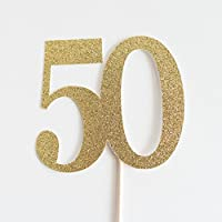 Gold Glitter 50 Cake Topper, 50th Wedding Anniversary, Fiftieth Birthday, Fifty
