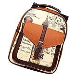 Vintage PU Leather Stitching Backpack Schoolbag for Women Printing Shoulder Bag Handbag