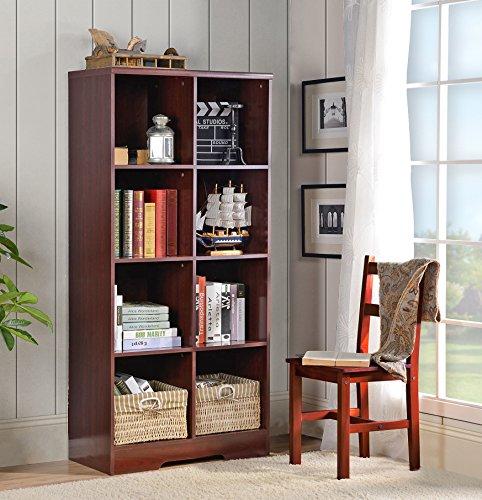 (American Furniture Classics 117 Large 8 Cube Storage Organizing Bookcase, Classic Cherry)