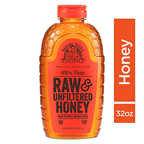 Sweet Fiber All Natural Sweetener - Nature Nate's 100% Pure Raw & Unfiltered Honey; 32-oz. Squeeze Bottle; Certified Gluten Free and OU Kosher Certified; Enjoy Honey's Balanced Flavors, Wholesome Benefits and Sweet Natural Goodness