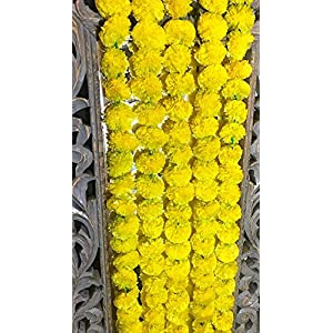 5 pack Artificial Yellow Marigold flower garlands/strings 5 ft long- for use in parties, celebrations, Indian weddings, Indian themed event, decorations, house warming, photo prop, Diwali, Ganesh Fest 1