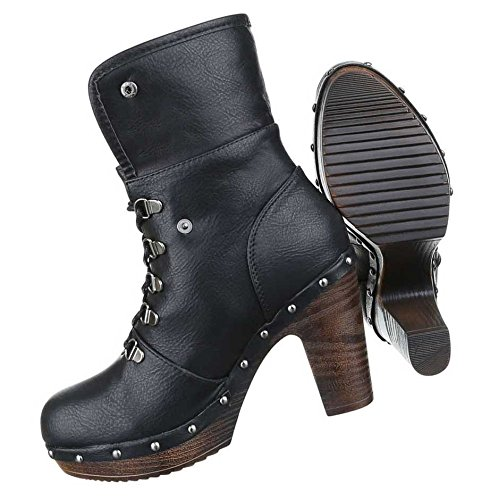 Schuhe Damen Stiefeletten Schwarz Schwarz Schnürer Boots RRSxTrBq5w