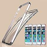 "Baseus iPhone 6 Case, Aerb Plantinum Series Aircraft Grade Aluminum Metal Frame W Hybrid Arc Technology & Transparant Soft TPU Back Case Shock Absorption for iPhone 6 4.7"""" (i6 C-Silver Case)"