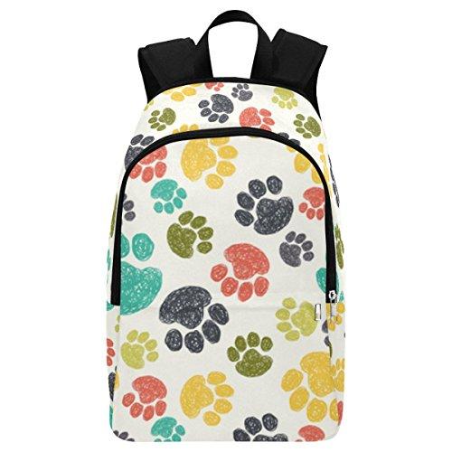 InterestPrint Custom Cute Colorful Dog Paw Foot Print Casual Backpack School Bag Travel Daypack ()