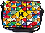 Rikki Knight Letter K Monogram Vibrant Colors Stained Glass Design Design Combo Multifunction Messenger Laptop Bag - with Padded Insert for School or Work - Includes Wristlet & Mirror