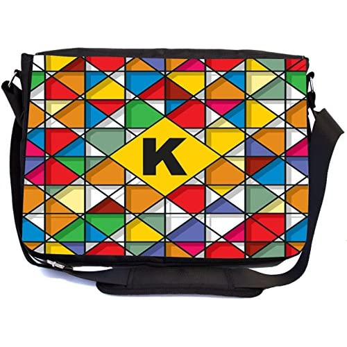 Rikki Knight Letter K Monogram Vibrant Colors Stained Glass Design Design Multifunctional Messenger Bag - School Bag - Laptop Bag - Includes Matching Compact Mirror