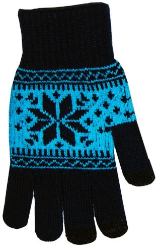 Boss Tech Products Knit Touchscreen Gloves with Conductive Fingertips for Use with All Touchscreen Electronic Devices- Blue Snow