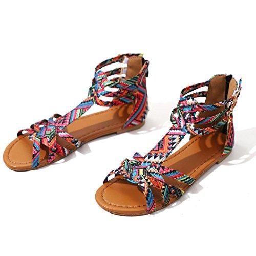 amp;H Sommer Mode Böhmen Pk Sandalen NEEDRA Heel Frauen Wedges S Schuhe Middle Sandalen Weave fSdqfn