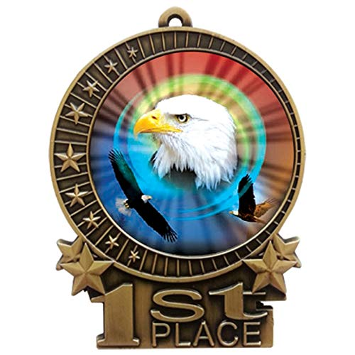 3 inch American Eagle 1st Place Gold Medal with Neck Ribbon Award XMDMY4 (1)