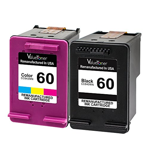 Valuetoner Remanufactured Ink Cartridges Replacement for HP 60 D8J23FN CC640WN CC643WN (1 Black, 1 Tri-Color) 2 Pack for HP Envy 100 110 120 114, Deskjet D1660 D2530, Photosmart C4680 D110a Printer (120 Inkjet Printer Cartridge)