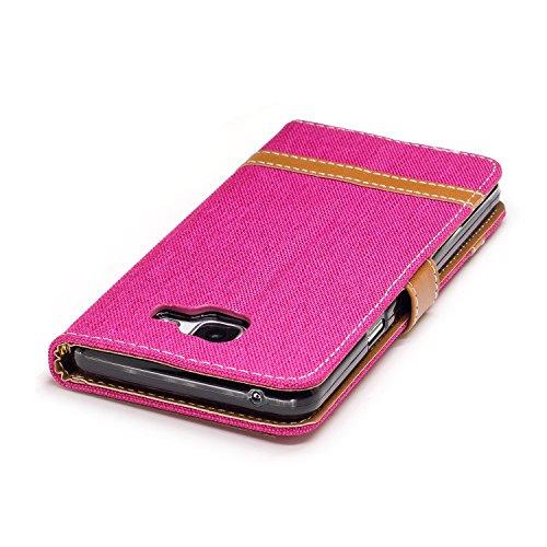 Para Samsung Galaxy A5(2016)SM-A510F funda, (Vaquero color azul marino) Dril de algodón de colores mezclados caja del teléfono móvil de cuero PU Leather cubierta Función de Soporte Billetera con Tapa  Vaquero rosa roja