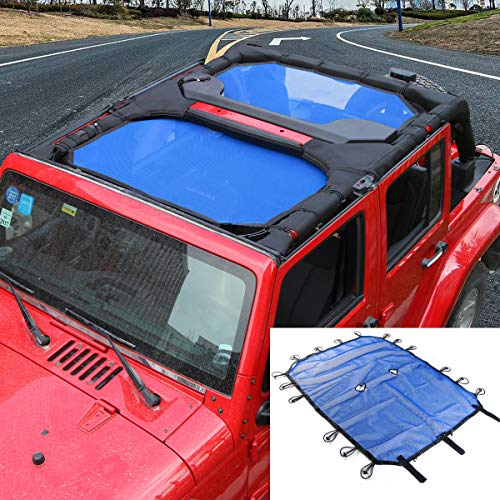 SunShade Top Cover Provides UV Sun Protection for Jeep Wrangler JK JKU 2007-2017 (Blue 4 Doors)