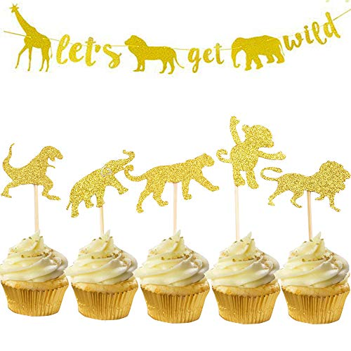 Suppar Gold Glitter Jungle Safari Animal Cupcake Toppers Woodland Animals Cake Decorations for Woodland Jungle safari Animals Party, Baby Showers Birthday Party