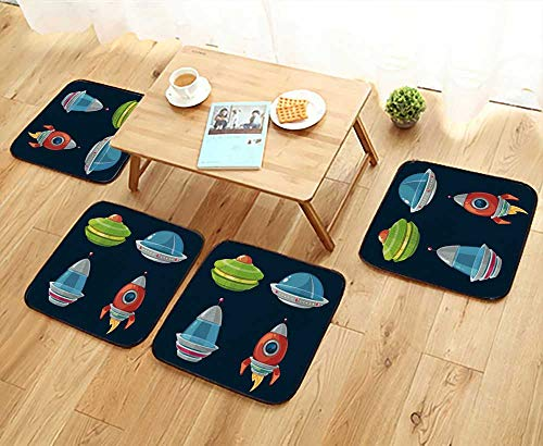 UHOO2018 Chair Cushions Spaceship and spacecrafts Cartoon Set for Space Computer and Phone Game Non Slip Comfortable W25.5 x L25.5/4PCS Set by UHOO2018 (Image #5)