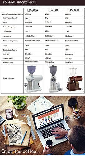 Chef Essentials Commercial coffee grinder Single origin pour coffee bean coffee bean machine Small round bladed disc (800A) by CHEF ESSENTIALS (Image #4)
