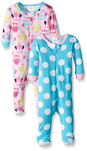Gerber Baby Girls' 2-Pack Footed Unionsuit, Owls/Big dots 3 Months ()
