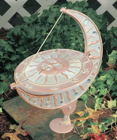 Whitehall Products, Sun and Moon Aluminum Sundial 01273, 8.75 inches wide by 15.5 inches high, copper verdigris