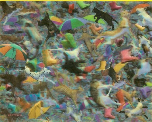 """Visual Echo 3D """"Raining Cats and Dogs"""" Lenticular Jigsaw Puzzle Effects - 500 pieces"""