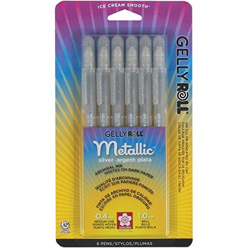 Sakura 57384 6-Piece Gelly Roll Metallic Gel Pen Set, Bold, - Mm Gel Pen 0.5