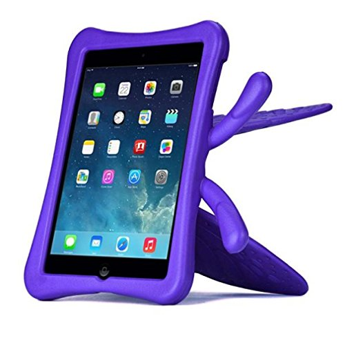 Price comparison product image TOOPOOT 3D Cute Butterfly Kids Shockproof Handle EVA Foam Stand Case For iPad mini 1 2 3 (Purple)