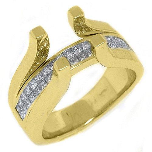 (18k Yellow Gold Invisible Princess Diamond Ring Tension Semi Mount 1 Carat)