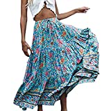 Euone Dress Clearance, Woman Bohemian Floral Printed Skirt Elastic Waist Ruffles Dress Pleated Long Beach Party Maxi Long Skirt