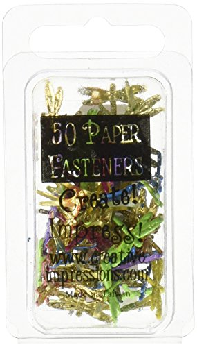 Painted Metal Paper Fasteners 50/Pkg-Dragonflies/Tropical