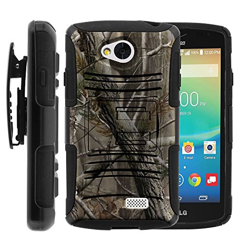 LG Transpyre Case, LG Transpyre Holster, Two Layer Hybrid Armor Hard Cover with Built in Kickstand for LG Transpyre VS810PP, LG Tribute LS660, LG Optimus F60 (Verizon, Virgin Mobile, MetroPCS) from MINITURTLE | Includes Screen Protector - Nature's Camouflage