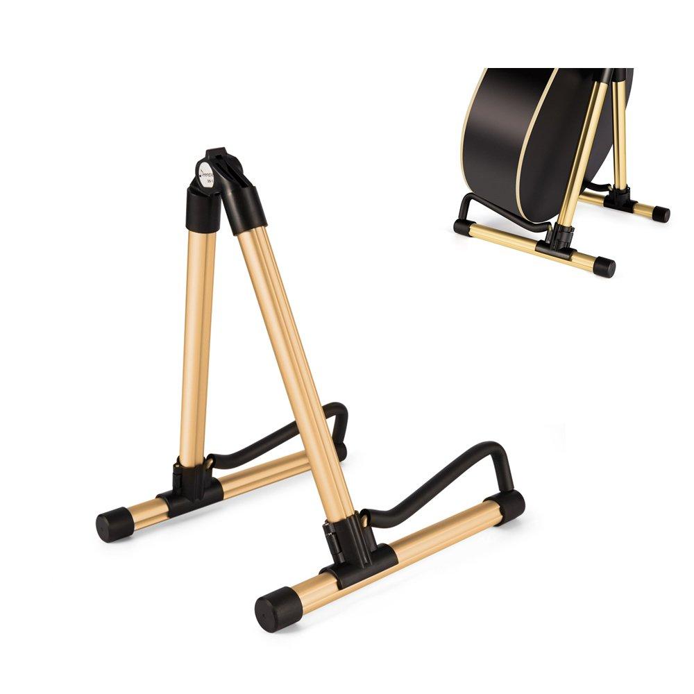 Elecguru Gurtar Stand,Universal Aluminum Alloy A-Frame Folding Music Instrument Stand for Guitar, Bass, Violin, Ukulele, Banjo, Mandolin (Gold) by Elecguru (Image #1)