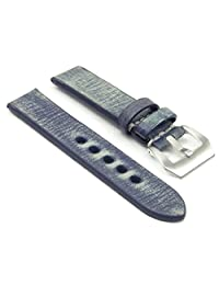 StrapsCo EXTRA LONG 20mm Blue Thick Distressed Vintage Leather Watch Band w/ Brushed Steel Pre-V Buckle