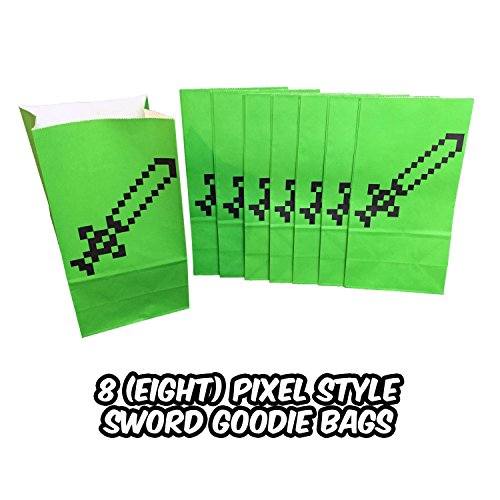Pixel Sword Goodie and Party Favor Bags (8 pack) - Miner Style Pixel Design - Perfect for Birthday Party Favors, Lunch Bags or Popcorn (Minecraft Party Bags)