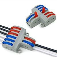 5pcs 2 in 6 out Reusable Spring Lever Terminal Blocks Electric Wire Cable Connectors 250V-4KV