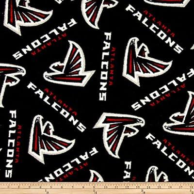 NFL Fleece Atlanta Falcons Black/Red Fabric By The Yard