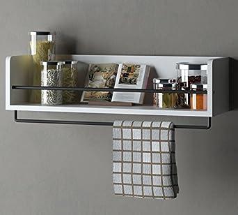 Kitchen Wood Wall Shelf With Metal Rail Spice Rack White 20 Inch