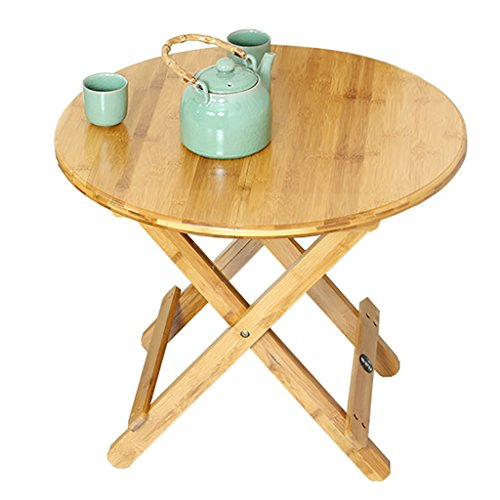 (Bamboo and bamboo folding round table portable simple dining table (Size : 909075cm))