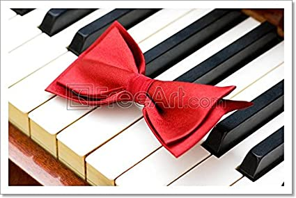 amazon com red bow tie on the piano keys paper print wall art 12in