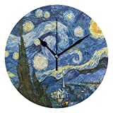 Dozili Vincent Van Gogh Art Oil Painting Starry Night? Round Wall Clock Arabic Numerals Design Non Ticking Wall Clock Large for Bedrooms,Living Room,Bathroom