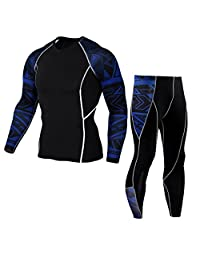 Men's 2PC Long Sleeve Cool Dry Fit Athletic Compression Athletic Pant Sports Set