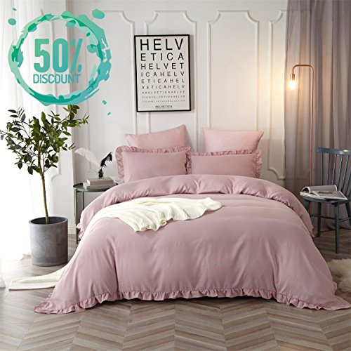 Hyprest Kids Princess Duvet Cover Set Twin Girls fluffy reliable Color 3PC Bedding Set by using Exquisite Flouncing Blush