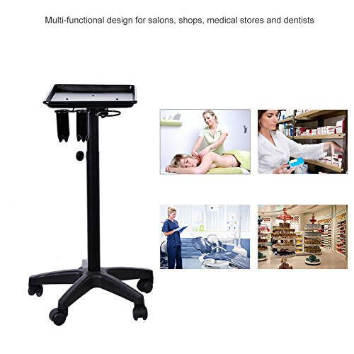 Premium Aluminum Instrument Tray Color Chemical Salon Service Tray Rolling Trolley Cart Equipment Mobile Storage Tray for Tool Storage Beauty Salon Spa Styling Station (Black with Dryer Holder)