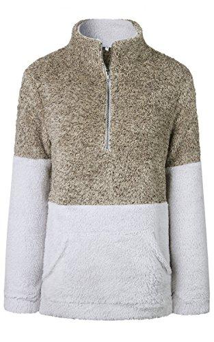 - Angashion Womens Long Sleeve Half Zip Fuzzy Fleece Pullover Jacket Outwear Sweatshirt Tops Coat with Pocket Coffee XL
