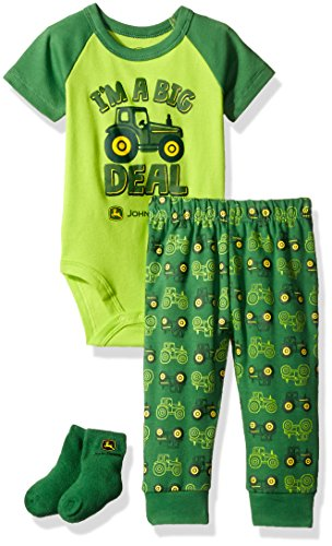 John Deere Baby Boys' Bodyshirt Set, Lime Green/Green, 3/6M