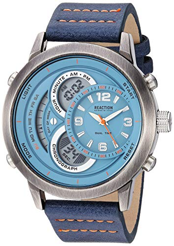 Kenneth Cole Reaction Men's Quartz Metal Case Synthetic Leather Strap, Blue, Casual Watch (Model: RK50863003) (Kenneth Cole Watch Band Men)