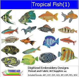 Machine Embroidery Designs - Tropical Fish(1) - CD Tropical Fish Embroidery