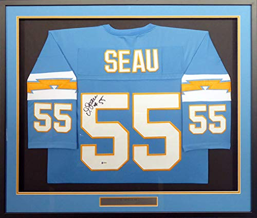 c9a663af71d San Diego Chargers Junior Seau Autographed Framed Powder Blue Jersey  Beckett BAS #F85550