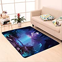 Sophiehome skid Slip rubber back antibacterial  Area Rug Mystery Cave with Sci Fi Building. Video Game\ Home Decorative