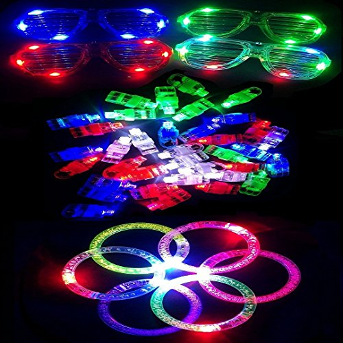 M.best 52Pcs Toy LED Light Up Party Glow Finger Rings Glasses Bracelets Party Favors Supplies Gift